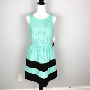 NWT Kensie Mint & Black Stripe Eyelet Dress